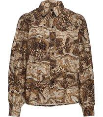 printed cotton poplin blouse lange mouwen bruin ganni