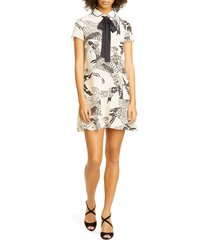 women's red valentino phoenix print tie neck shift dress