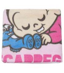 cobertor flanelado bebê menina turma da mônica rosa