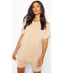 maternity oversized t-shirt & short lounge set, stone