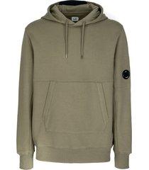 c.p. company green cotton fleece hoodie