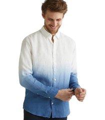 camisa con diseño 100% lino azul esprit