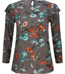 blusa estampada con arandelas color naranja, talla 16
