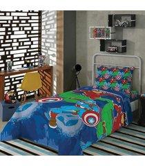 jogo de cama avengers vingadores 2 pã§s infantil solteiro - azul - menino - dafiti