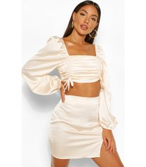 satin ruched top and split hem skirt co-ord, champagne