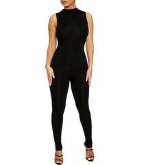 women's naked wardrobe the nw sleeveless jumpsuit, size large - black