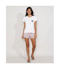 pijama feminino gatinho manga curta branco