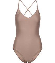 shiny cross back swimsuit baddräkt badkläder brun filippa k