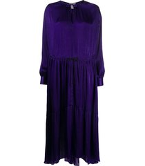 forte forte drawstring satin dress - purple