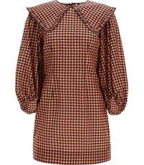 ganni checkered seersucker mini dress