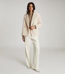 reiss scarlet - wool blend teddy coat in white, womens, size 12