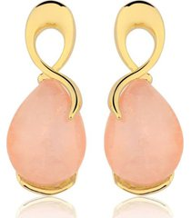 brinco toque de joia laçado quartzo rosa ouro amarelo