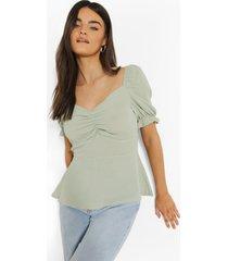 blouse met pofmouwen en hartvormige hals, mint
