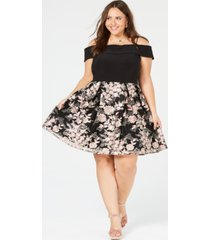 morgan & company trendy plus size off-the-shoulder embroidered dress