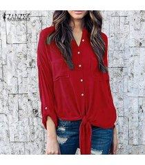 zanzea mujeres solapa del cuello botones en otoño de manga larga dobladillo asimétrico con cordones de la blusa de la oficina del trabajo sólido ocasional de la camisa s-5xl rojo -rojo