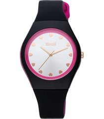 santa clara - orologio cinturino nero in policarbonato, quadrante argento per donna