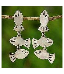 silver dangle earrings, 'silver fishies' (thailand)