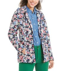 charter club floral-print hooded utility jacket, created for macy's