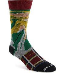 men's stance burnt rainbow crew socks, size large - red