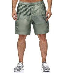 hombres summer stripe letter printed pocket drawstring elastic waist shorts