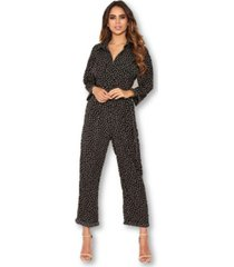 ax paris women's polka dot belted jumpsuit