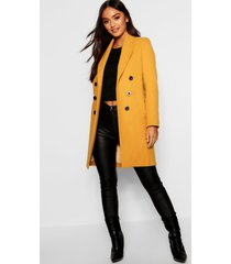 petite double breasted duster coat, mustard