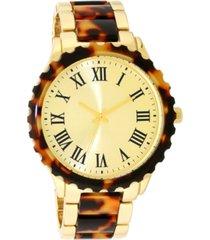 inc women's gold-tone & tortoise-look bracelet watch 40mm, created for macy's
