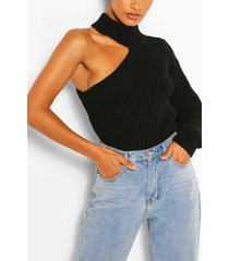 cut out one sleeve sweater, black