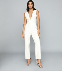 reiss lina - plunge tailored jumpsuit in white, womens, size 12