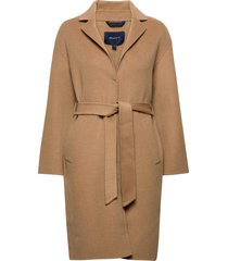d1. wool blend belted coat wollen jas lange jas beige gant