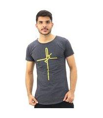 camiseta masculina fé long line swag viscolycra gola careca