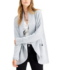 say what? juniors' plush open-front cardigan