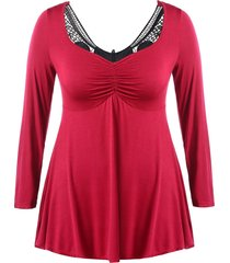 plus size lace panel ruched empire waist tee