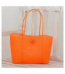 recycled plastic tote, 'undeniable beauty in tangerine' (guatemala)