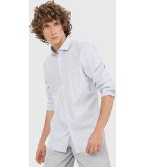 camisa azul-gris lacoste