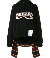maison mihara yasuhiro hybrid layered hoodie - black