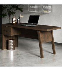 mesa para escritório 2 gavetas me4122 rústico - tecno mobili