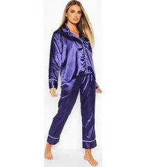 satijnen pyjamabroekset met knopen, marineblauw