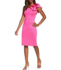 women's eliza j one-shoulder scuba crepe cocktail dress, size 8 - pink