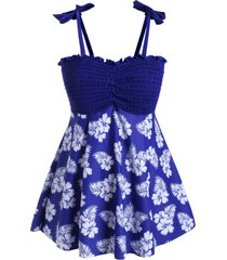 plus size smocked floral print tankini swimsuit