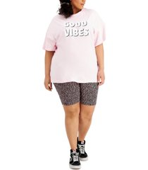 full circle trends plus size printed t-shirt and bike short outfit
