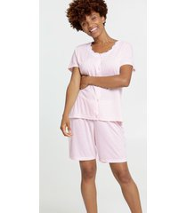 pijama feminino recorte renda manga curta marisa