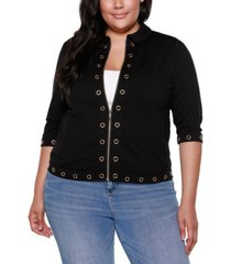 belldini black label plus size 3/4 sleeve zip front jacket