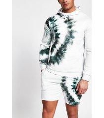 river island mens light grey tie dye slim fit hoodie