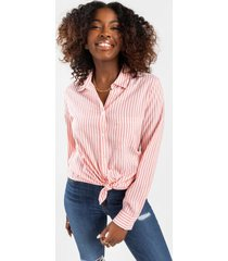 angelina striped button down top - coral