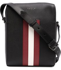 bally striped leather messenger bag - blue