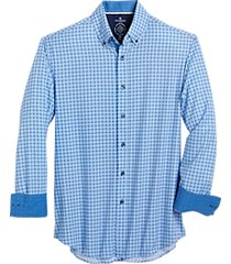 con. struct blue check four-way stretch slim fit sport shirt