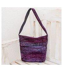 bamboo chenille shoulder bag, 'purple magic' (guatemala)