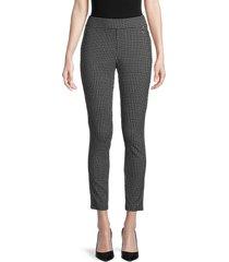 tommy hilfiger women's grid-print pants - jet black and grey - size 2