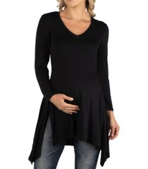 24seven comfort apparel women's long sleeve side slit hem maternity tunic top